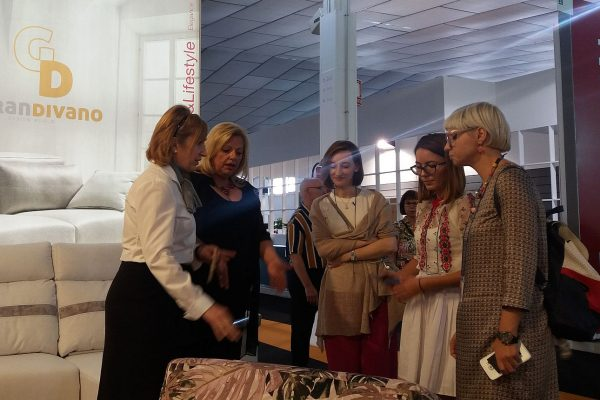 Romanian furniture buyers and interior designers make a shopfloor visit to furniture factory in Yecla, Spain